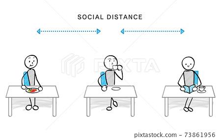 감염증 대책과 소셜 디스턴스 자리에 앉는 사람들 73861956