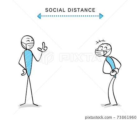 감염증 대책과 소셜 디스턴스 인물과 커뮤니케이션 웃음 73861960