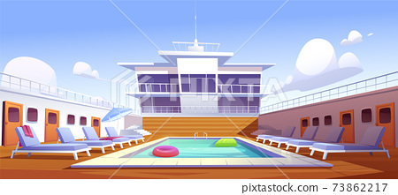 Swimming pool on cruise liner, empty ship deck 73862217