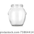 Open empty glass jar for food and canned food 73864414