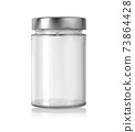 Empty glass jar isolated o 73864428