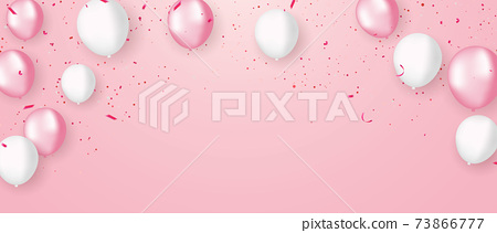 pink white balloons, confetti concept design template holiday Happy valentines Day, background Celebration Vector illustration. 73866777