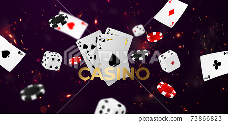 Playing card. Winning poker hand casino chips flying realistic tokens for gambling, cash for roulette or poker, 73866823