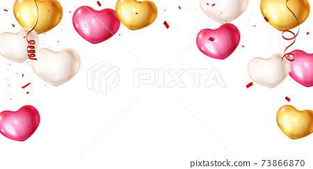 heart balloons and confetti concept design template holiday Happy valentines Day, background Celebration Vector illustration. 73866870