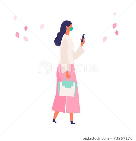 코로나 재난의 봄 쇼핑을 즐기는 사람들의 일러스트 73867176
