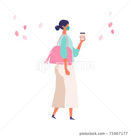 코로나 재난의 봄 쇼핑을 즐기는 사람들의 일러스트 73867177