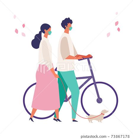 코로나 재난의 봄 쇼핑을 즐기는 사람들의 일러스트 73867178