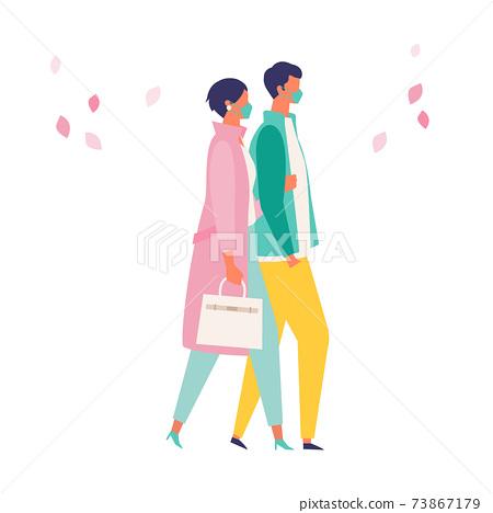 코로나 재난의 봄 쇼핑을 즐기는 사람들의 일러스트 73867179