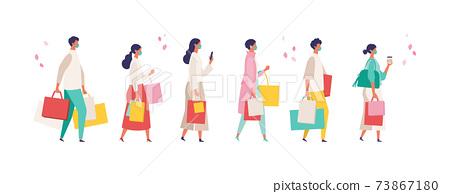 코로나 재난의 봄 쇼핑을 즐기는 사람들의 일러스트 73867180