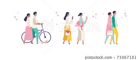 코로나 재난의 봄 쇼핑을 즐기는 사람들의 일러스트 73867181