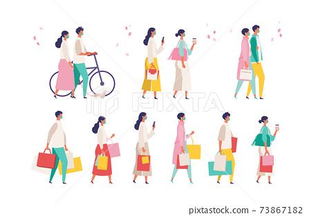 코로나 재난의 봄 쇼핑을 즐기는 사람들의 일러스트 73867182