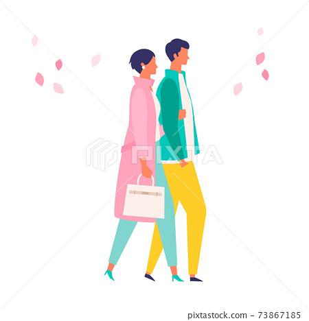 봄 패션의 사람들 일러스트 73867185