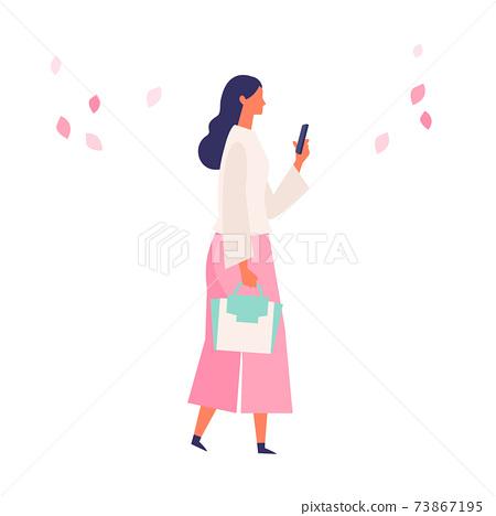 봄 패션의 사람들 일러스트 73867195