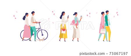 봄 패션의 사람들 일러스트 73867197