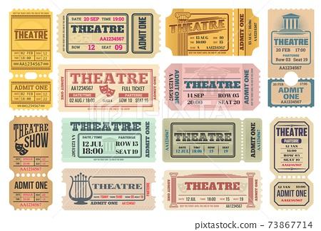 Theatre show, actors performance retro tickets set 73867714