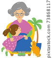 Illustration of grandchildren, grandmother and cat 73868117