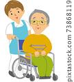 Elderly man and caregiver in a wheelchair 73868119