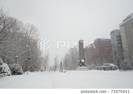 눈 축제가없는 겨울의 오도리 공원에 눈이 내린다 (니시 5 초메) 73870841