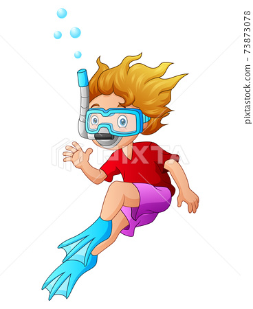 Cartoon a boy with snorkeling gear on white background 73873078