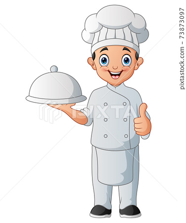 A cartoon happy chef holding a platter 73873097