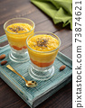 Homemade chia seed pudding with mango 73874621