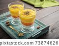Homemade chia seed pudding with mango 73874626