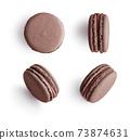 Set of chocolate french macarons 73874631