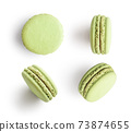 Set of green french macarons 73874655