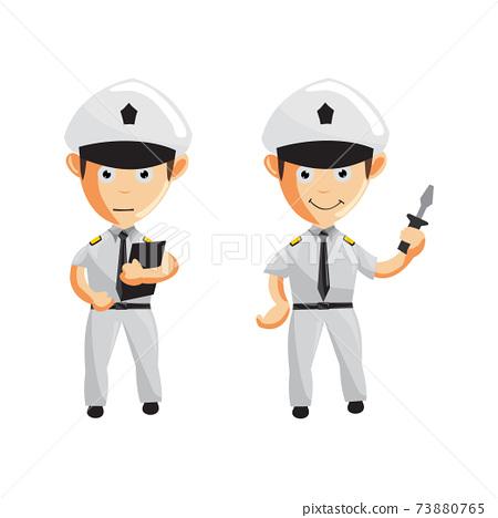 Airplane Pilot Cartoon Character Set Aircraft Captain in Uniform 73880765