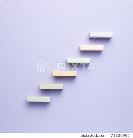 Stairs block on purple background. Growth and challenge concept 73880906