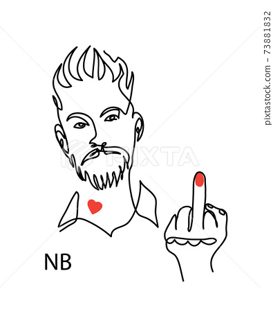 Nonbinary, enby, NB person concept. Man with red polished nail fuck off gesture. Simple vector illustration, man face line art 73881832