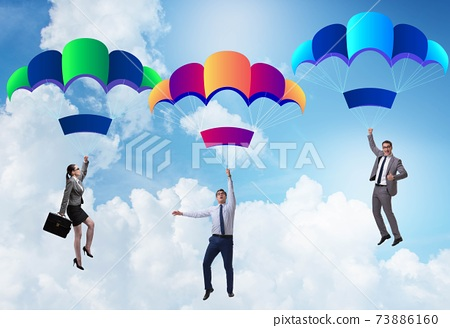 Business people falling down on parachutes 73886160
