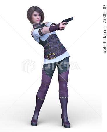 一個女人拿著槍 73886382
