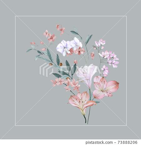 色彩豐富的花卉素材組合和設計元素 73888206