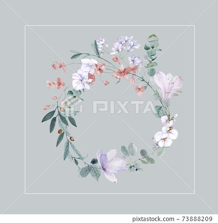 色彩豐富的花卉素材組合和設計元素 73888209