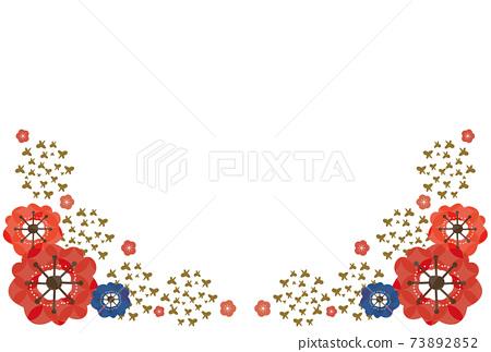 梅花和蝴蝶的日式明信片-紅色,藍色,金色 73892852