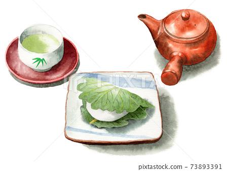 模擬水彩柏年糕和日本茶 73893391