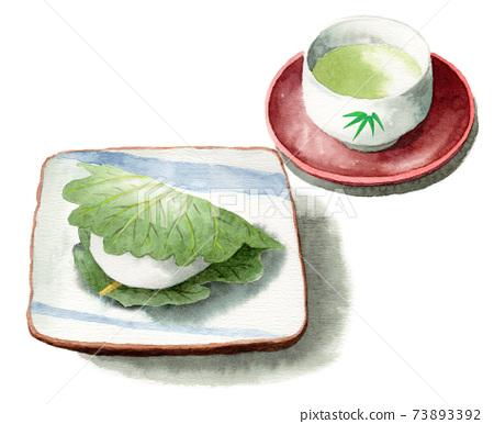 模擬水彩柏年糕和日本茶 73893392