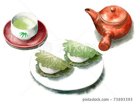 模擬水彩柏年糕和日本茶 73893393