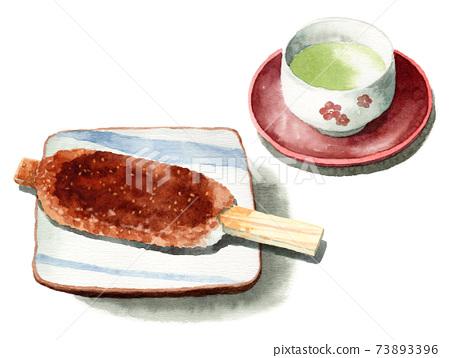 模擬水彩五平麻chi和日本茶 73893396