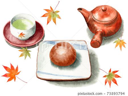 模擬水彩茶文殊和日本茶 73893794