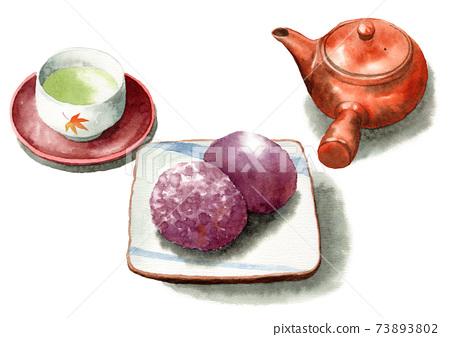 模擬水彩小ha和日本茶 73893802