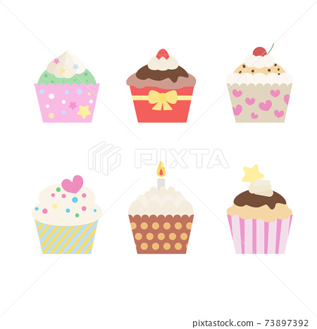 Various cupcake illustration materials 73897392