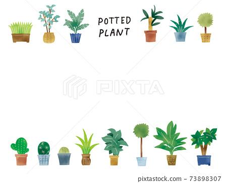休閒的觸摸簡單的綠色的盆栽的植物插圖集 73898307