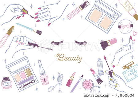 時尚可愛的化妝品化妝工具手繪插圖 73900004