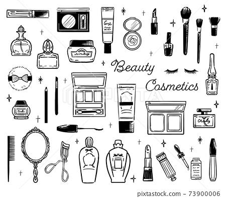 時尚可愛的化妝品化妝工具手繪插圖 73900006