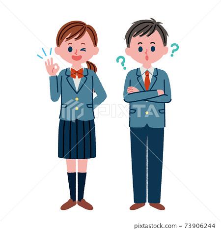 高中生對OK姿勢有疑問的高中生的插圖素材 73906244