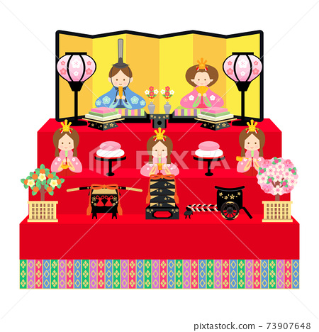 Hina doll five-person decoration illustration 73907648