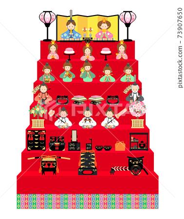 Hina doll 15 people decoration illustration 73907650