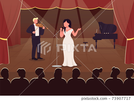 Concert hall perfomance flat color vector illustration 73907717
